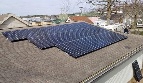Roof mount solar panels on Beaverton Michigan city hall